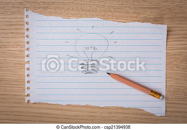 Hand Gezeichnete Glühbirne Auf Papier Mit Bleistift