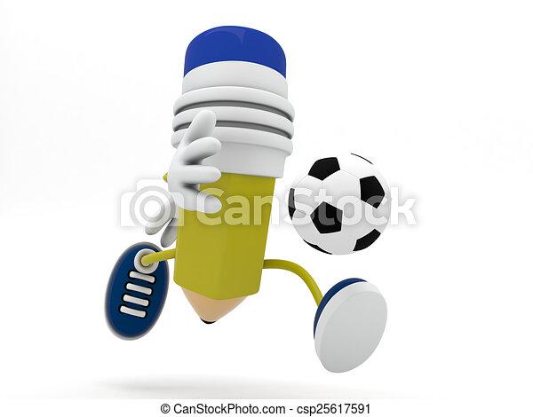 Bleistift Render Spieler Fussball 3d