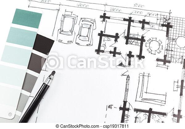 Bleistift Skizze Architekt Zeichnung