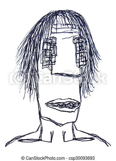 Bleistift Skizze Mann Zeichnung Monster Bleistift Monster