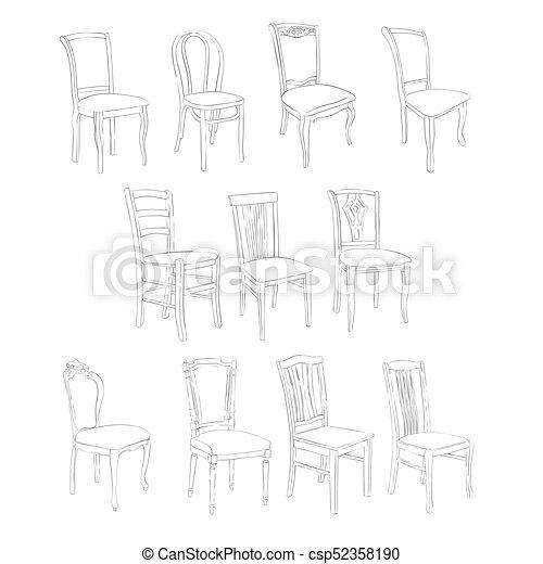 Bleistift Stuhl Zeichnung Vorzüglich Stühle Gemalt Weißes