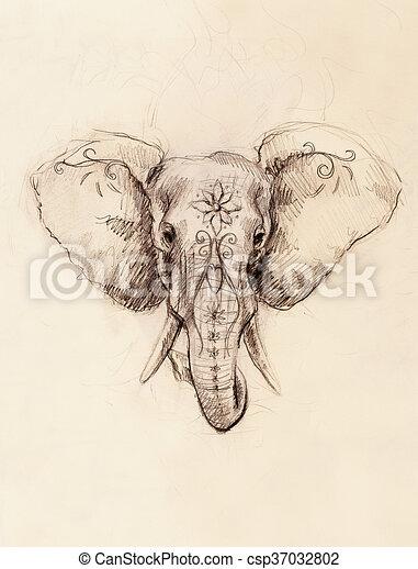 bleistift verzierung paper elefant blumen zeichnung. Black Bedroom Furniture Sets. Home Design Ideas