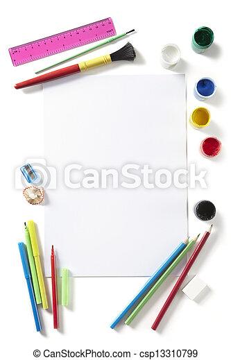 Bleistifte, schule, kunst, pupillen, farben, zurück,... Stockfotos ...