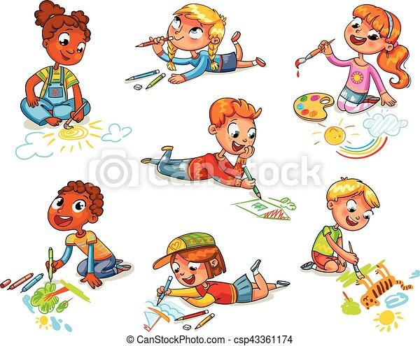 Bleistifte, ziehen, farben, wenig, bilder, kinder.... Vektoren ...