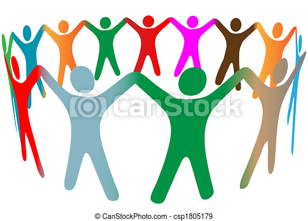 Blend of diverse symbol people of many colors hold hands up in ring - csp1805179