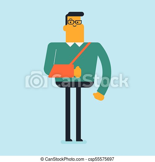 blessé, arm., cassé, caucasien blanc, homme - csp55575697