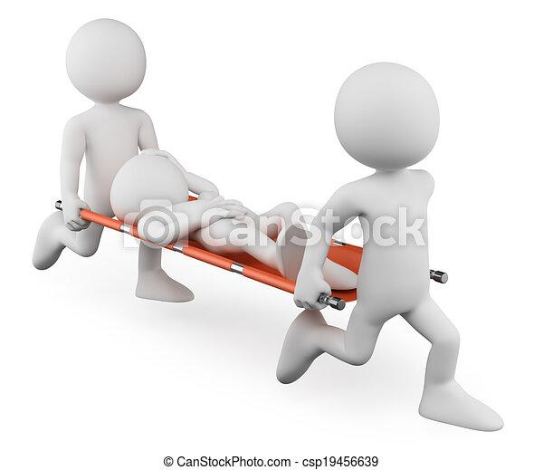blessé, brancard, gens., porter, médecins, blanc, 3d - csp19456639