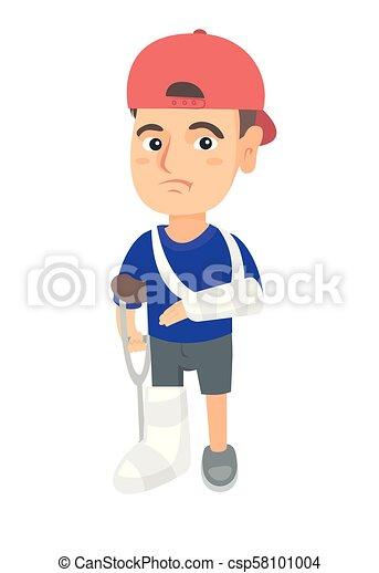 blessé, garçon, caucasien, leg., triste, bras cassé - csp58101004