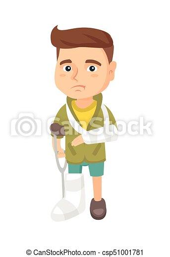 blessé, garçon, caucasien, leg., triste, bras cassé - csp51001781