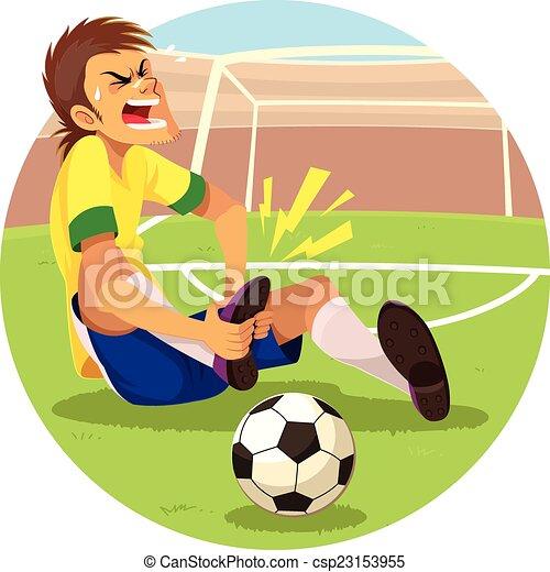 Bless joueur football bless sien joueur obtenu football foot - Dessin du genou ...