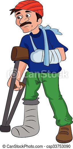 blessé, tête, jambe, illustration, bras, homme - csp33753090