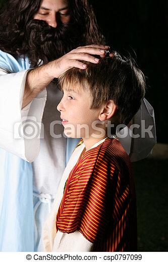 blesses, 孩子, 耶穌 - csp0797099