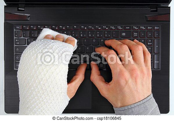 blessure, cahier, fonctionnement, main - csp18106845