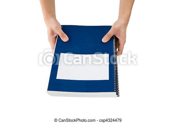 bleu, école, manuel - csp4324479