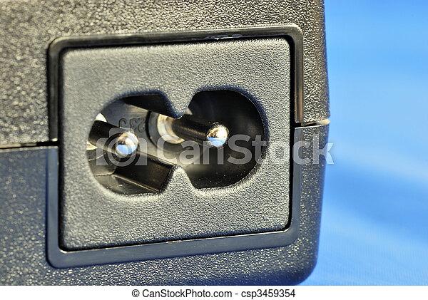 bleu, électrique, isolé, haut, cric, fin, vue - csp3459354