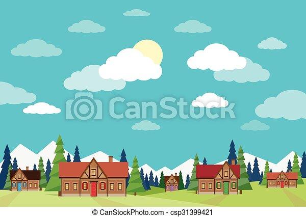 bleu, été, ciel, maisons, vert, village, herbe, paysage - csp31399421