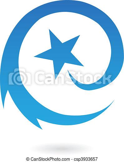 bleu, étoile filante, rond - csp3933657