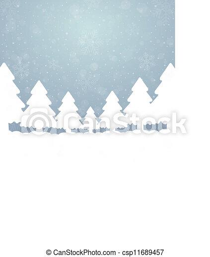 bleu, étoiles, arbre, neige, fond, blanc - csp11689457