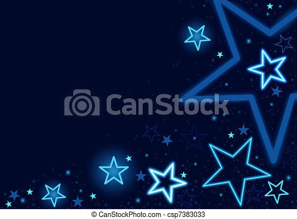 bleu, étoiles, fond - csp7383033