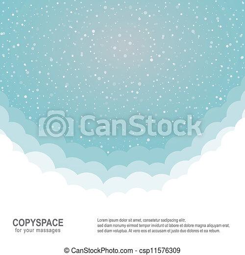 bleu, étoiles, neige, fond, snowflake blanc - csp11576309