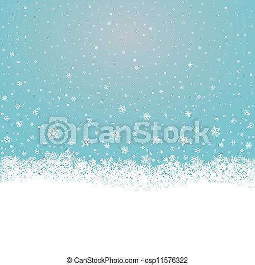 bleu, étoiles, neige, fond, snowflake blanc - csp11576322