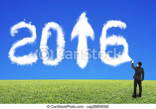 bleu, 2016, ciel, pulvérisation, forme, homme affaires, blanc, herbe, nuage - csp26859092
