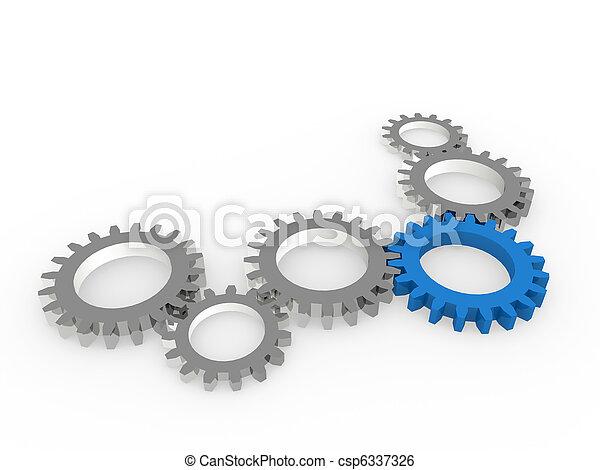 bleu, acier, chrom, engrenage, 3d - csp6337326
