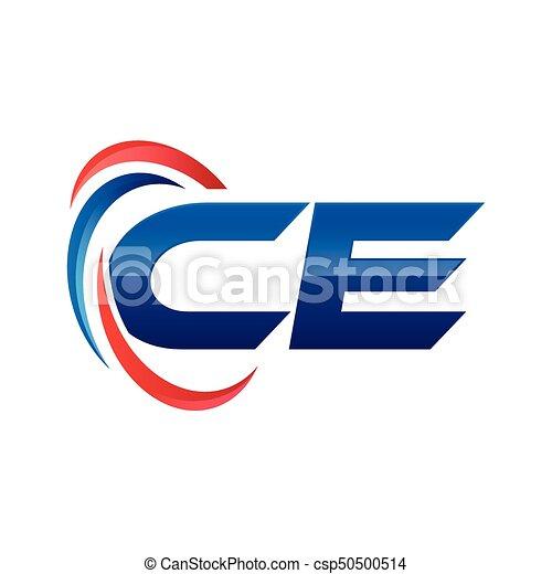 Bleu Ae Ze Initiale Lettre Swoosh Logo Rouges