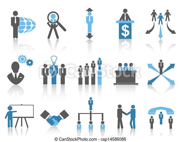 bleu affaires, série, gestion, icônes - csp14586086
