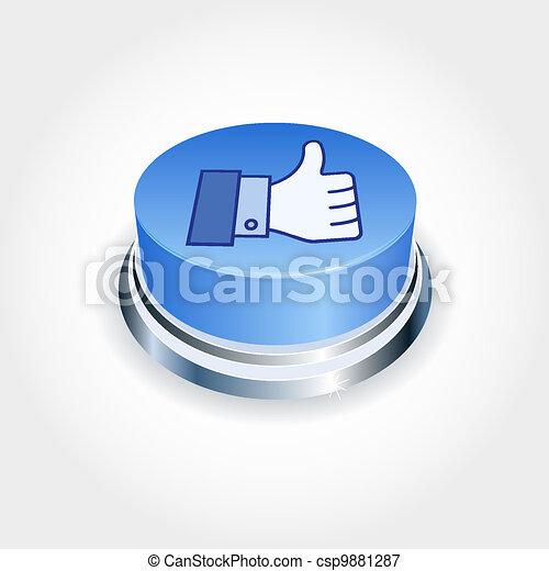 bleu, aimer, média, concept., haut, social, perspective., bouton, pouce - csp9881287
