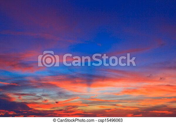bleu, arrière-plans, nuages, ciel coucher soleil - csp15496063