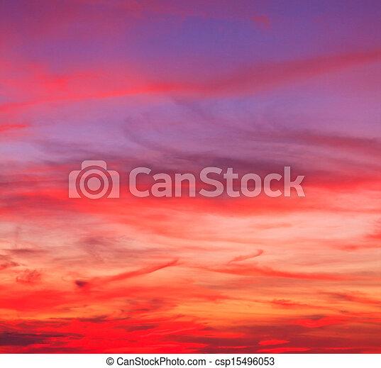 bleu, arrière-plans, nuages, ciel coucher soleil - csp15496053