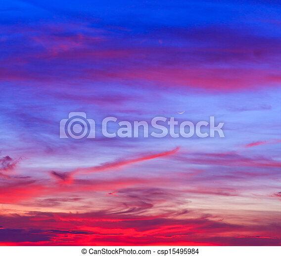 bleu, arrière-plans, nuages, ciel coucher soleil - csp15495984
