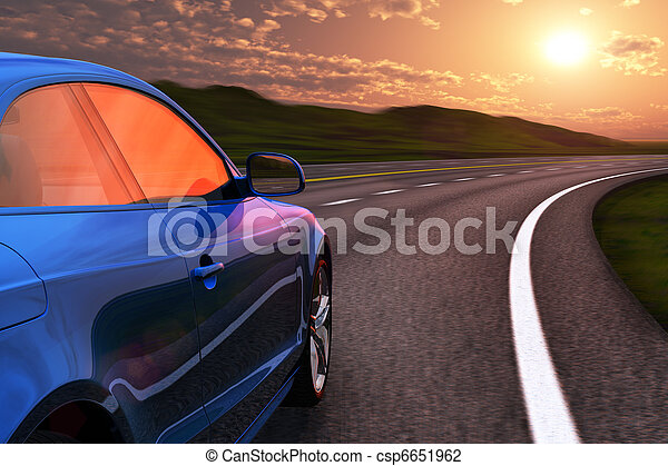 bleu, autobahn, conduite, voiture, mouvement, coucher soleil, barbouillage - csp6651962