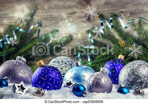 bleu, babioles, snowflakes., monture, fond, vacances, noël - csp53569006