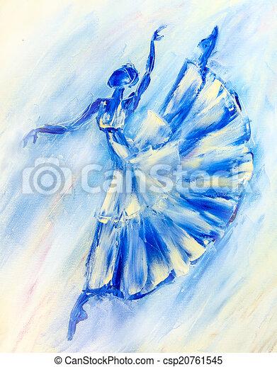 Bleu, ballerine, peinture huile, toile.