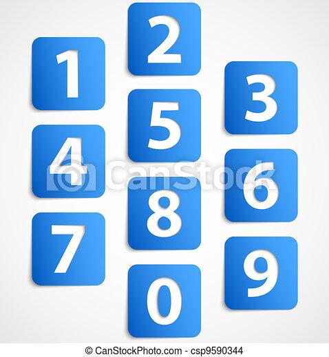 bleu, bannières, nombres, dix, 3d - csp9590344