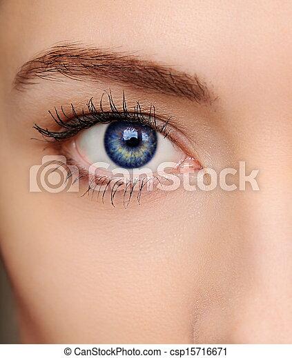 bleu, beau, oeil, macro, clair, closeup, portrait, woman. - csp15716671