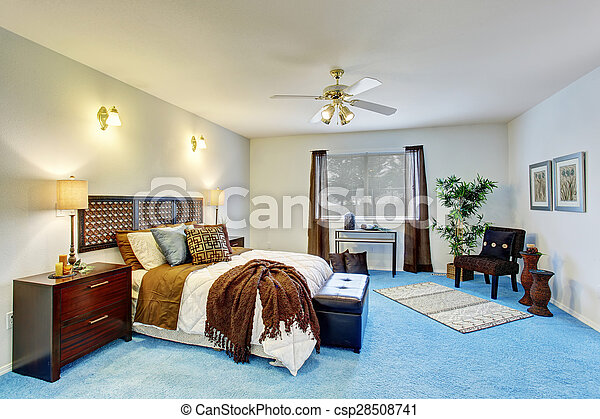bleu, bedding., georgous, maître, chambre à coucher, blanc, moquette