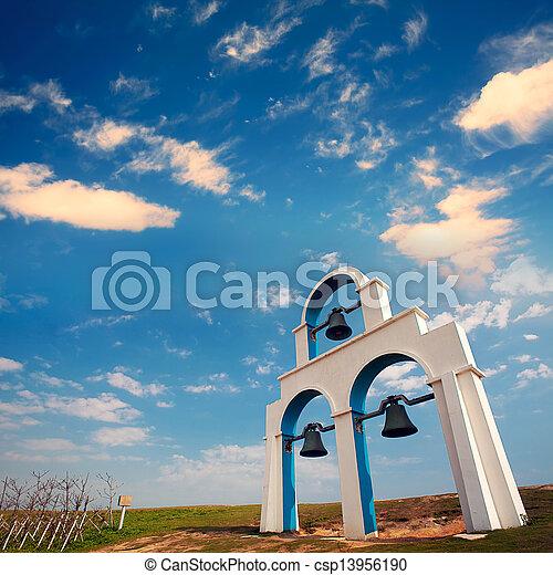bleu, blanc, église, cloches - csp13956190