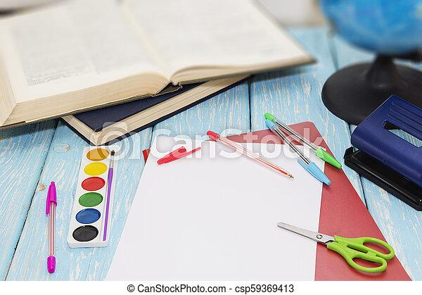 bleu, bois, approvisionnements école, arrière-plan. - csp59369413