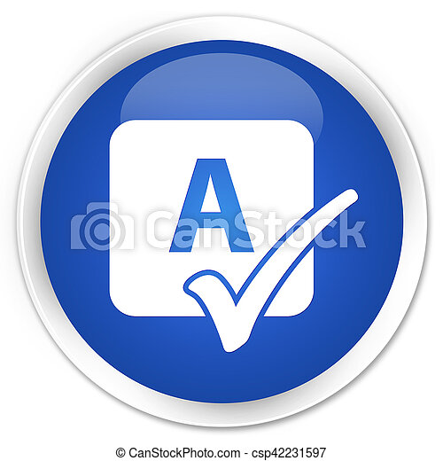 bleu, bouton, sortilège, rond, lustré, chèque, icône - csp42231597
