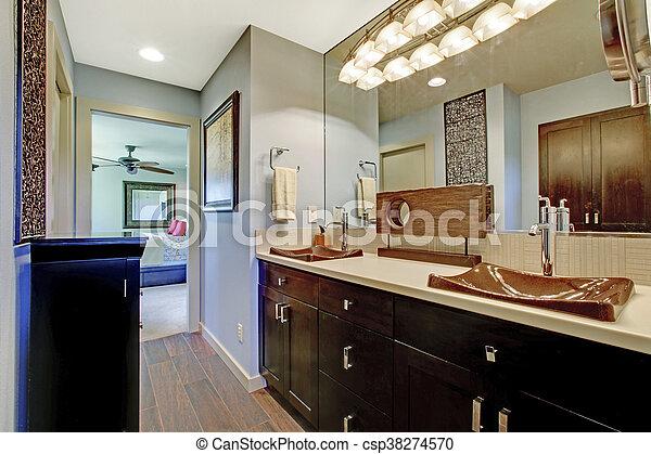 bleu, brun, salle bains, cabinets, grand, noir, intérieur, miroir.