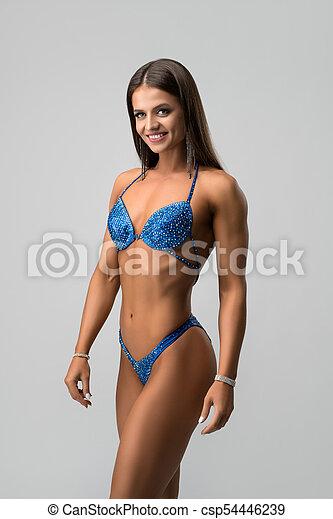 bleu, brunette, bicini, heureux, well-shaped - csp54446239
