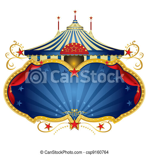 bleu, cadre, cirque, magie - csp9160764