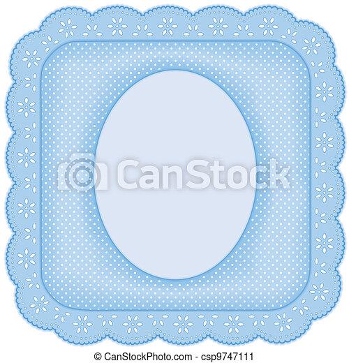 bleu, cadre graphique, dentelle, oeillet - csp9747111