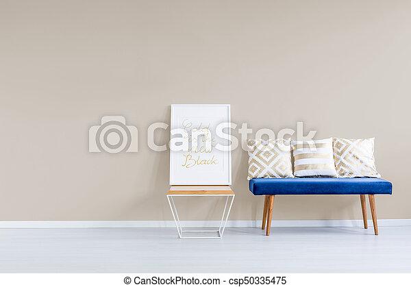 Bleu, canapé, contre, mur, pastel. Modelé, pastel, oreillers ...