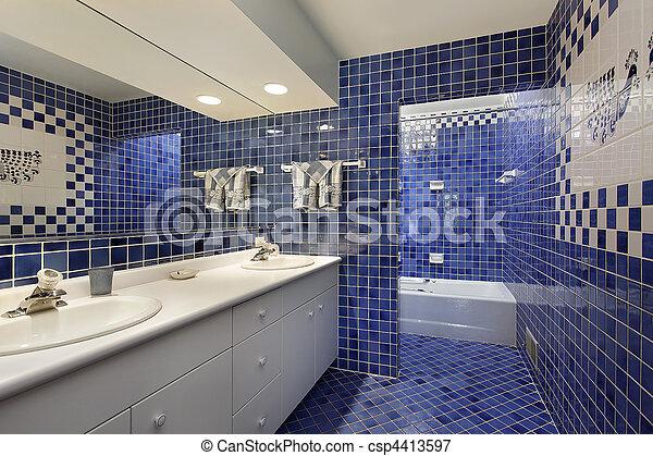 bleu, carreau, salle bains - csp4413597
