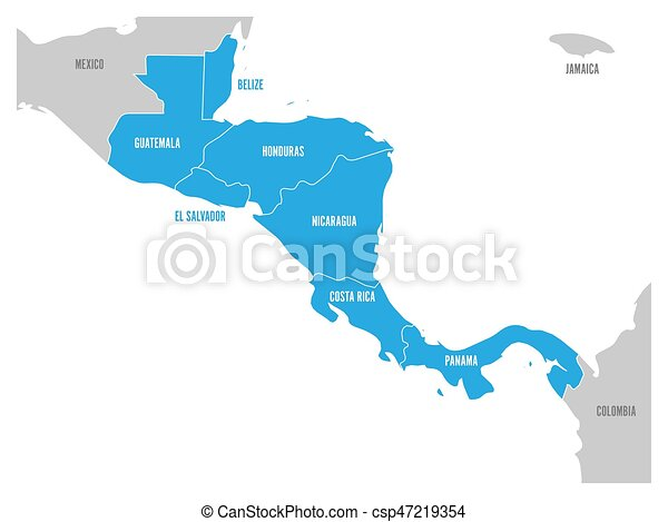 Carte Pays Amerique Centrale.Bleu Carte Central Nom Plat Simple Pays Region States Labels Mis Valeur Americain Vecteur Illustration Amerique