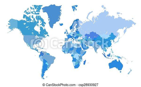 bleu, carte, mondiale - csp28930927